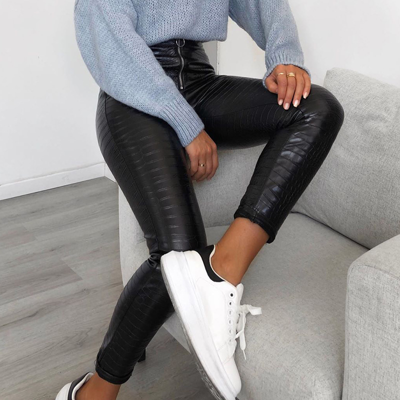 Elegant High Waist Black Faux Leather Pants Women Pencil Skinny Pants Ladies Office Trousers Casual Slim PU Leather Capris 2020