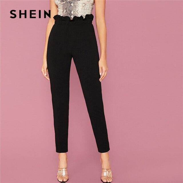 Black Solid Waist Elegant Trousers  1