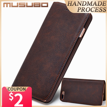 Musubo Ultra Slim Phone Case for iPhone X 7 Plus Genuine Leather Luxury Cases Cover for iPhone 8 6 Plus 6s S9 Plus S8 Flip capa