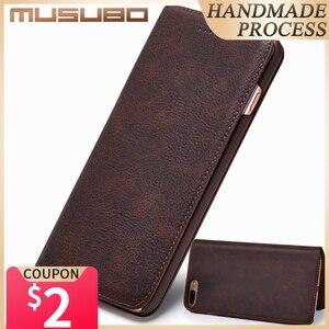 Image 1 - Musubo Ultra Slim Phone Case for iPhone X 7 Plus Genuine Leather Luxury Cases Cover for iPhone 8 6 Plus 6s S9 Plus S8 Flip capa