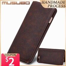 Musuboウルトラiphone × 7 プラス本革高級ケースカバーiphone 8 6 プラス 6s S9 プラスS8 はキャパ