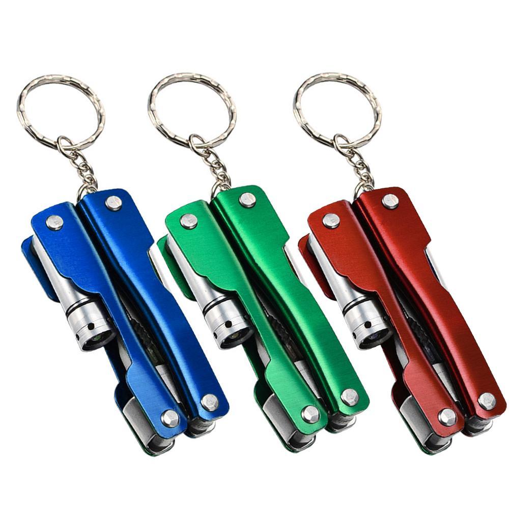 Mini 6 In 1 Stainless Steel Multi-function Pliers Hand Tools+Screwdriver+Knife+LED+Bottle Opener 1pc Multi-tool Knife Set