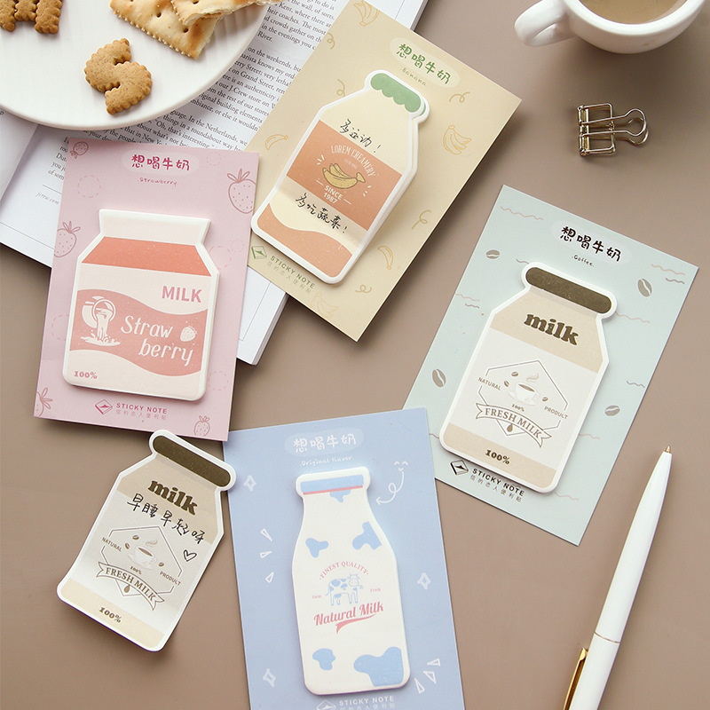 2 Set Memo Pads Sticky Notes Want To Drink Milk  Paper Notepad Daliy Scrapbooking Stickers Office School Stationery Bookmark