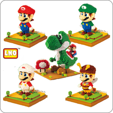 LNO Game Super Mario Luigi Yoshi Monster Fire Bee Pikachu DIY Mini Building Diamond Small Blocks Toy no box