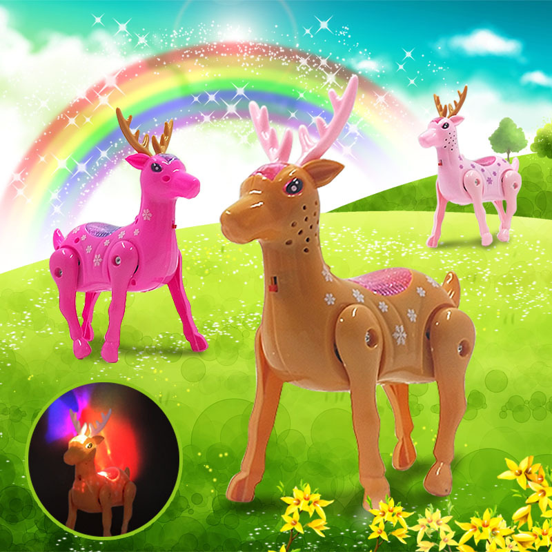 2020 Cute Flashing Music Deer Pet Toys Electronic Robotic Funny Animals Toy With Rope Light For Kids Gift Walking Pet 4 Colors