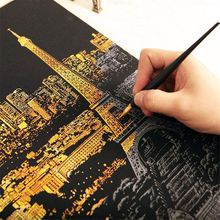 40x28cm Magic Scratch Art Painting Paper with Drawing Stick Creative Art Supplies Kids Painting Supplies Stationery