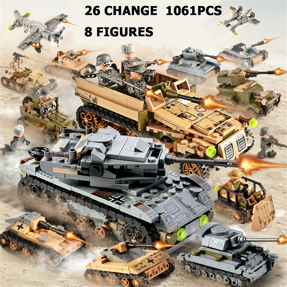 1061PCS Tank Building Blocks Helicopter Toys Minifigure Vehicle Aircraft Boy Educational Block Military Compatible LegoED Bricks