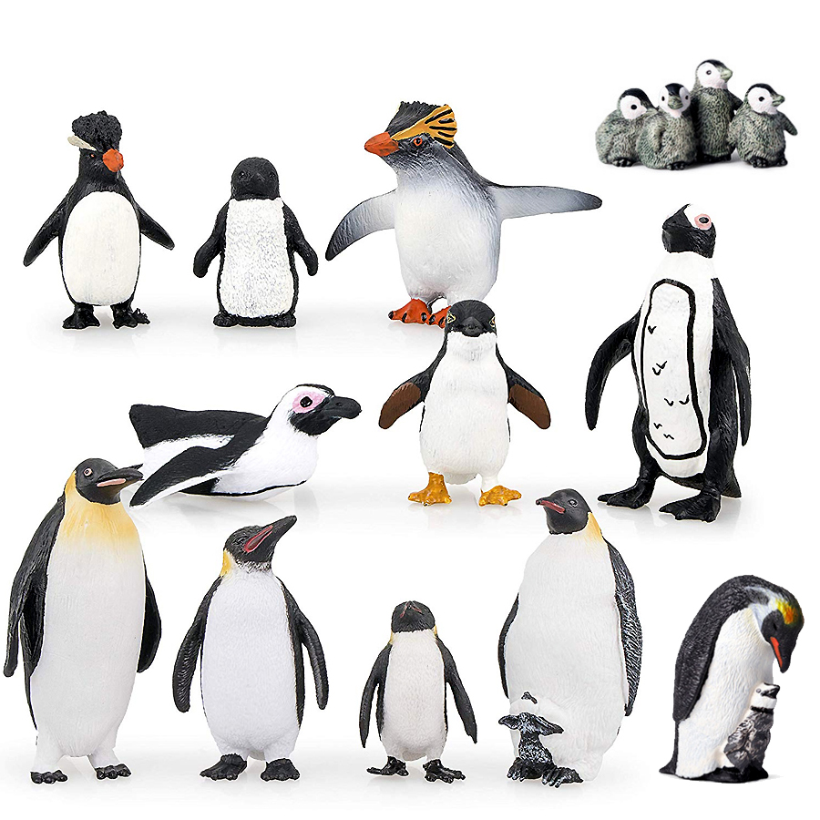 Simulation Penguin Models Figurines,Polar Arctic Animal Figures Antarctic Set,Easter Eggs Cake Toppers Christmas Birthday Gift