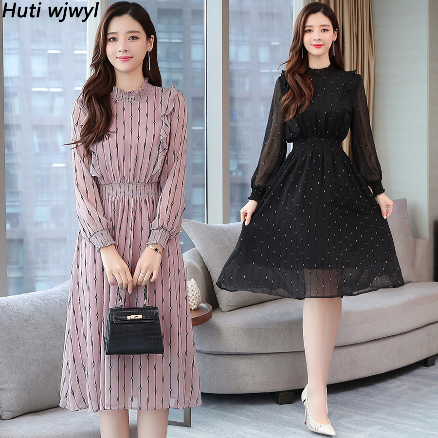 2019 Vintage Striped Chiffon Long Sleeve Midi Dresses Autumn Winter Plus Size Women Bodycon Dress Elegant Party Femal Vestidos