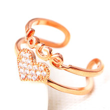 New Rose Gold Color Woman Ring Temperament Female Wild Fashion English Letters Inlaid Zircon Opening Hand Jewelry(China)