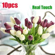 10 pçs tulipa artificial flor real toque bouquet artificial falso flor para decoração de casamento flores decoração casa garen