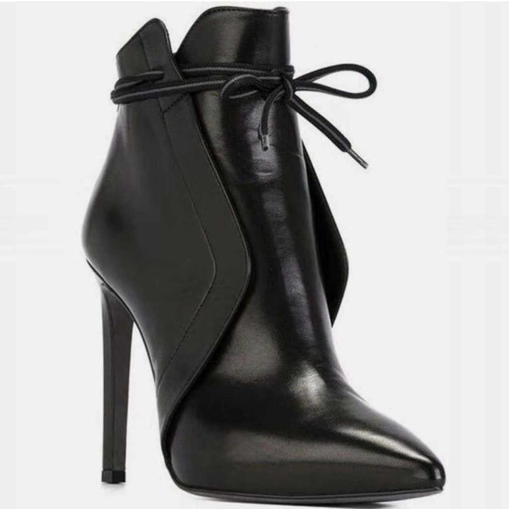 2020 çizmeler kış kadın bayanlar sivri burun ince yüksek topuklu rahat deri ayakkabı kısa çizmeler Mujer sıcak peluş ayakkabı astarı #10