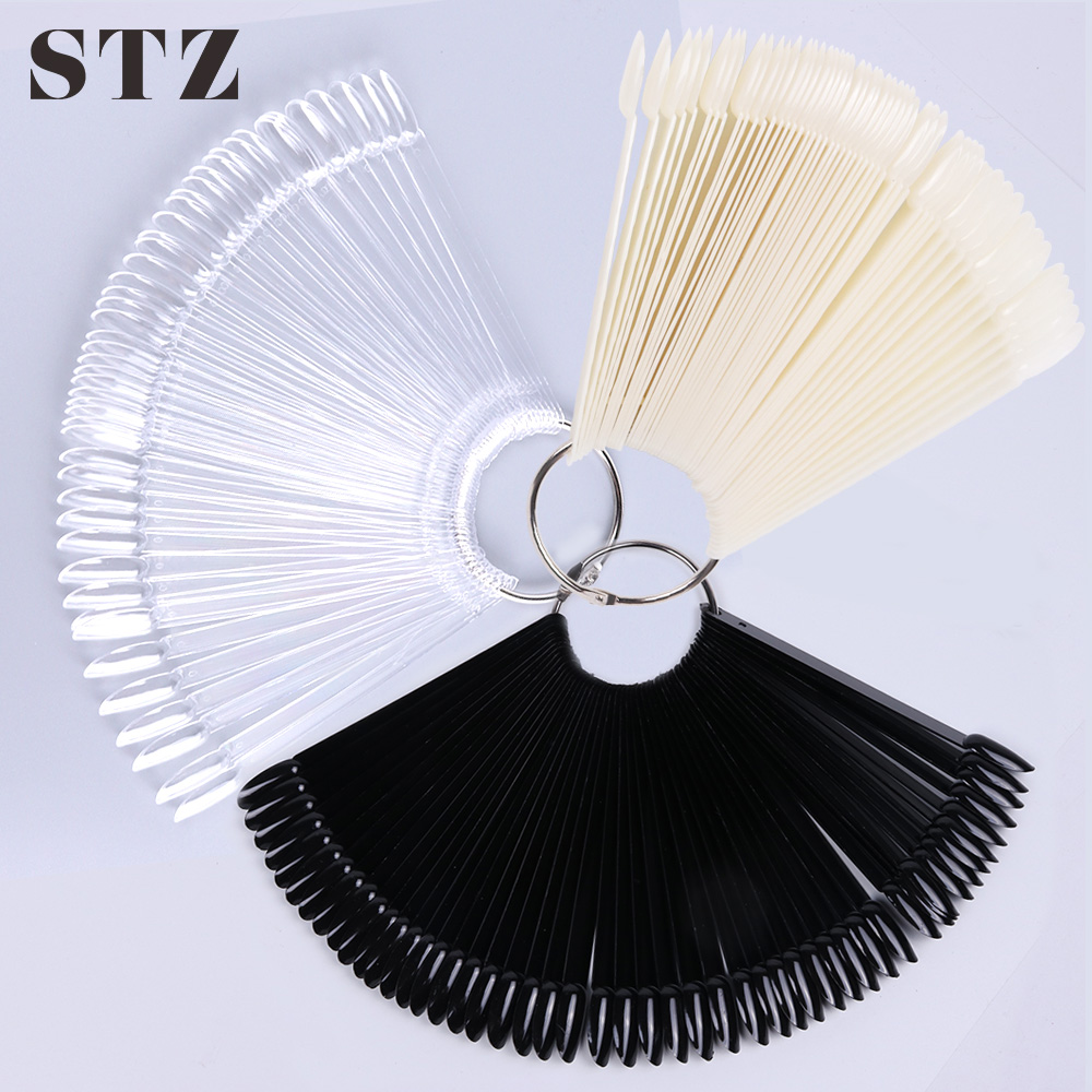 STZ 50/32/24 Tips/Set False Nails Fan Display Acrylic Fake Nail Art Tips For Gel Polish Practice Tools Manicure Accessories A23