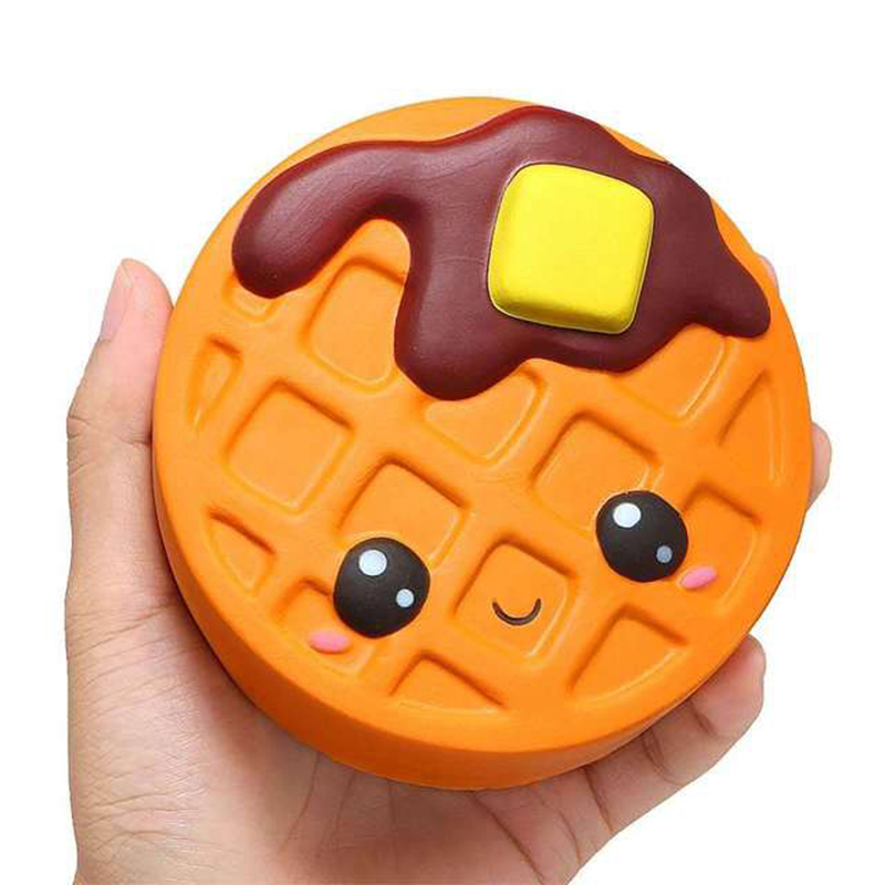 Купить с кэшбэком Jumbo Cheese Chocolate Biscuits Cute Squishy Slow Rising Soft Squeeze Toy Phone Strap Scented Relieve Stress Funny Kid Xmas Gift