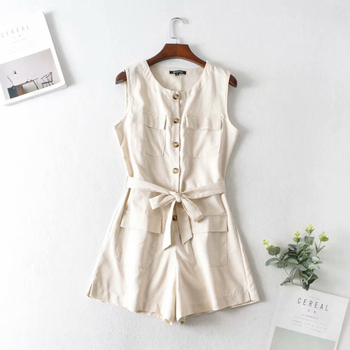 Casual Bow Sashes Button Cotton Playsuit Summer Women Sleeveless Basic Jumpsuit Romper Elegant Pockets Overalls Female NZ0119