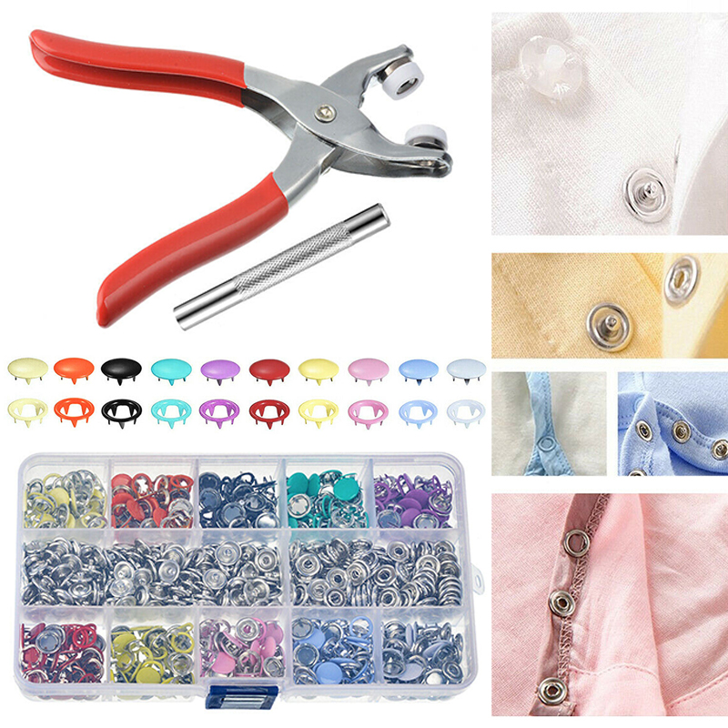 200X Metal Sewing Buttons Hollow Prong Press Studs Snap Fasteners Plier Tools