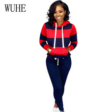 WUHE Retro Bodycon Two Pieces Sets Hooded Crop Top and Skinny Pants Elegant Striped Tie-up Casual Go Out Playsuits Plus Size 3XL halterneck striped lace up self tie top