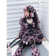 Harajuku rosa cinta laço-up puff manga longa vestido menina moda temperamento lolita outono doce kawaii plaided vestido