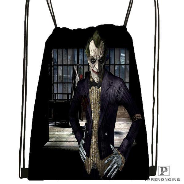 Custom Joker-batman-arkham@2 Drawstring Backpack Bag Cute Daypack Kids Satchel (Black Back) 31x40cm#2018612-01-(13)