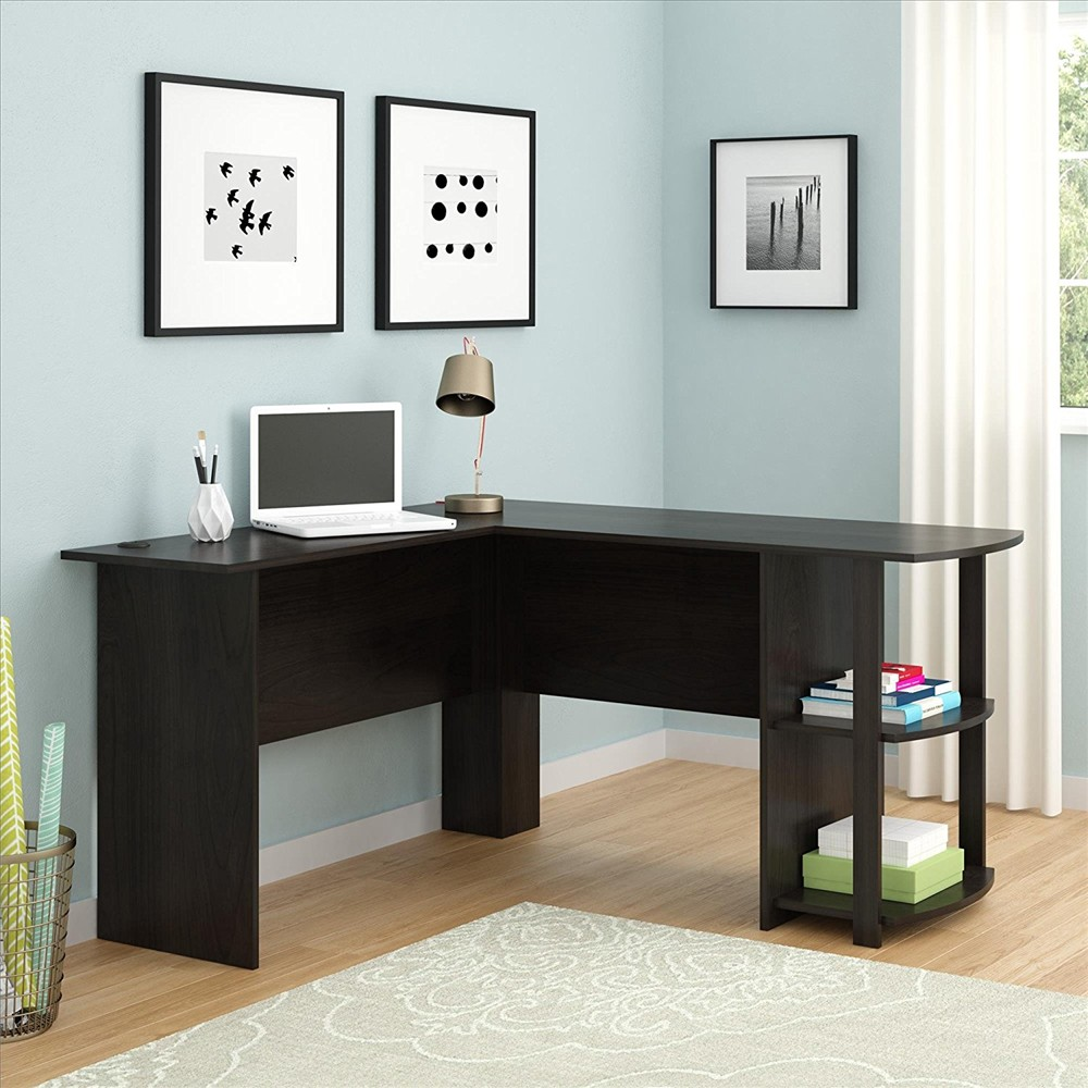 【US Warehouse】FCH L-Shaped Wood Right-angle Computer Desk With Two-layer Bookshelves Dark Brown(Computer Desk Table)