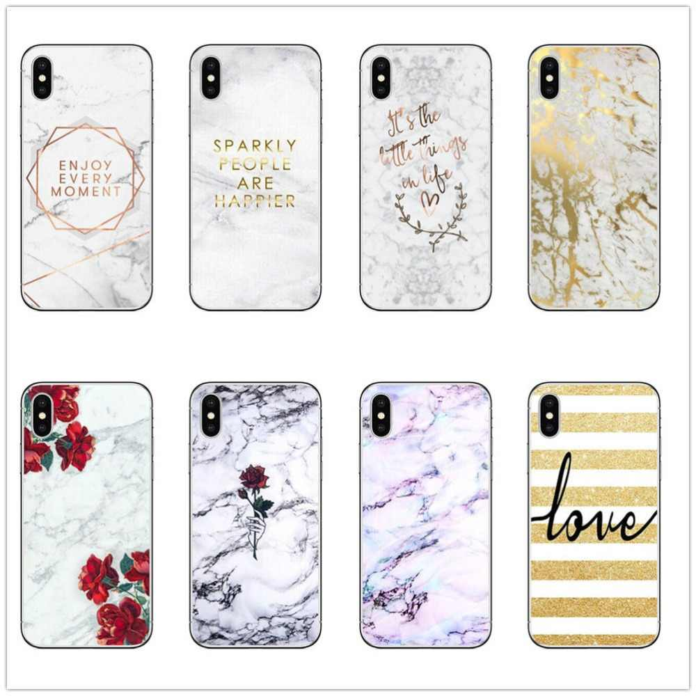 Red Rose Gold Pinker Marble Soft Transparent Phone Case For Iphone