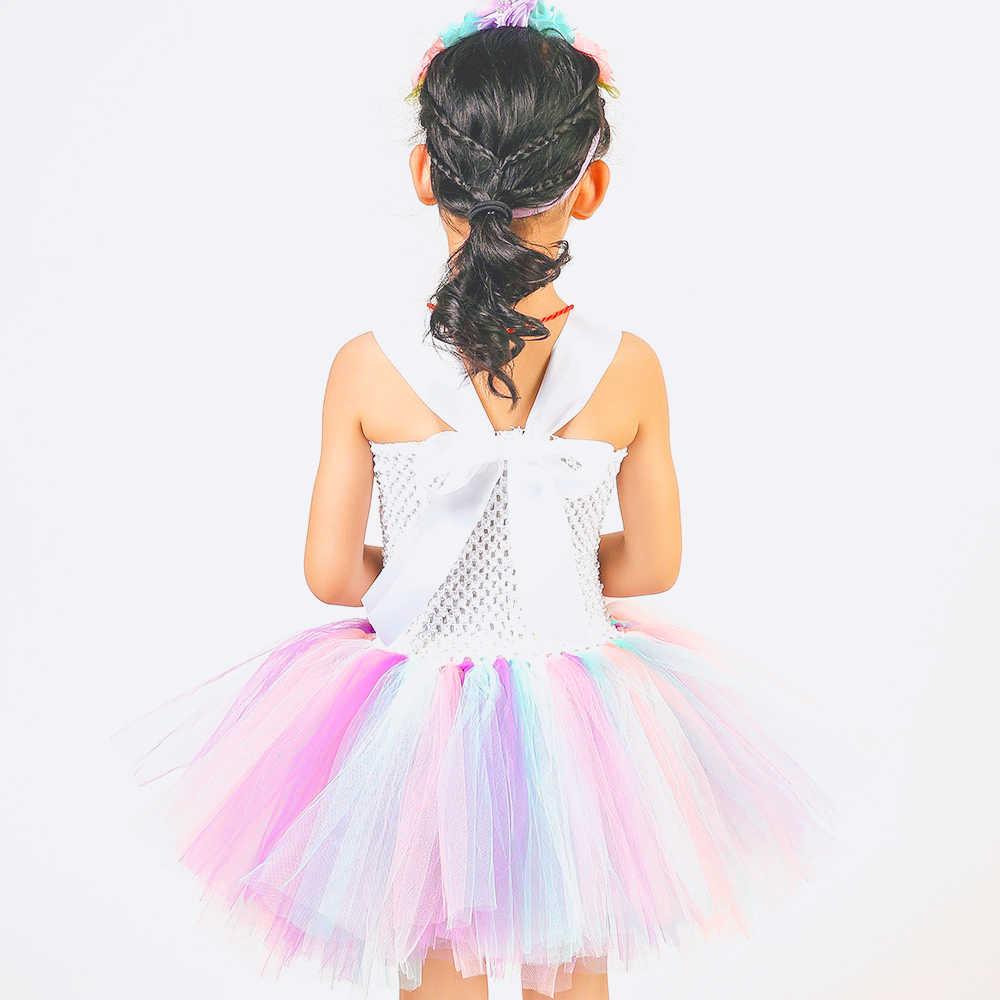 Пастельное платье-пачка с единорогом для маленьких девочек, с цветами, на день рождения, маскарадные праздничные платья детский Рождественский костюм на Хэллоуин