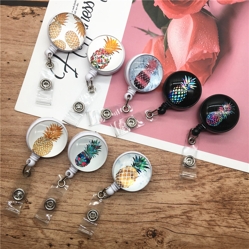 Retractable Nurse Badge Reel Clip Fashion Pineapple Pattern IC Identification Card Plate Holder Students ID Card Badge Holder