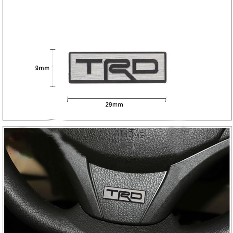 Suitable For Toyota TRD Camry Corolla 4runner Tundra Rav4 Tacoma Modified Stainless Steel Steering Wheel Decoration Car Sticker