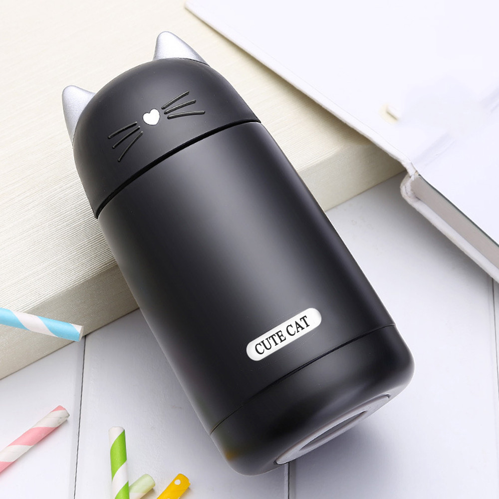 Cute Cat Thermos Cup Kids Thermo Mug Drinkware Kid 330ml Water Bottle Stainless Steel Vacuum Flask Portable Leak proof Tumbler|Water Bottles|   - AliExpress