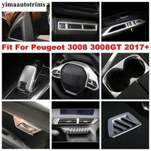 עבור פיג ו 3008 3008GT 2017   2021 רכב דלת ידית קערת חלון מעלית פנל הגה הילוך כיסוי לקצץ פחמן סיבי פנים