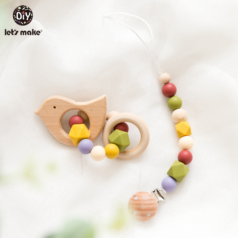 Let's Make 2pc/set Baby Silicone Teether Pacifier Chain DIY Wooden Teether Ring Beech Dummy Holder Baby Silicone Rattle Toys