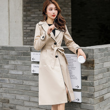 winter 2019 new fashion women single breasted mid-long khaki trench coat slim casual cloak with belt female high quality khaki trench coat with self tie belt