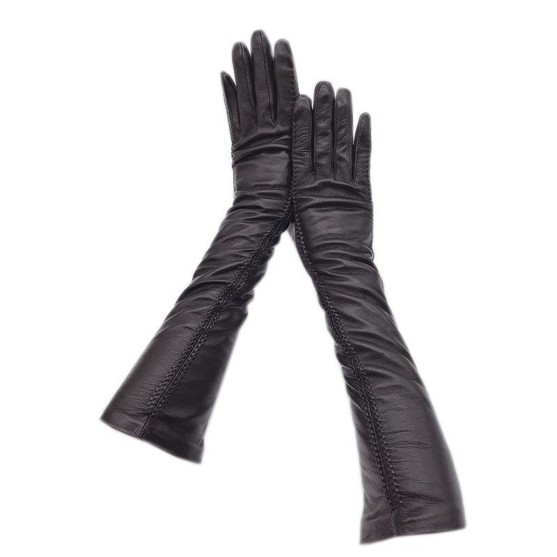 Зимние женские перчатки с длинным рукавом, модные зимние перчатки из овечьей кожи в новом стиле 2020, теплые и толстые черные высокие перчатки...