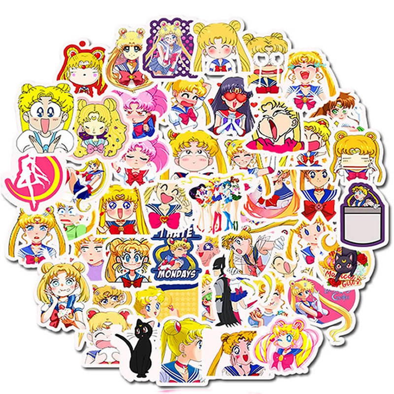 50pcs/Pack Waterproof PVC Sailor Moon Stickers Skateboard Motorcycle Suitcase Guitar Girl DIY Graffiti Sticker Kid Classic Toy