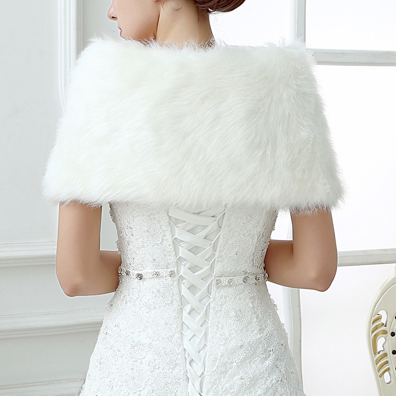 YULUOSHA Bridal Plush Shawl Imitation Of Rabbit Fur Shawl Autumn Winter Warm Wedding Dress Fur Shawl Dress Shawl Bridal Jacket