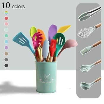 Utensílios de cozinha de silicone conjunto de utensílios de cozinha resistente ao calor cozinha antiaderente utensílios de cozinha ferramentas de cozimento 1