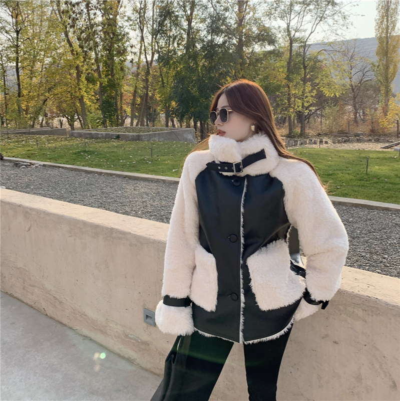 Ha6a0b4d6a4e5464fbeaa0db229bd5139i Winter Women High Quality Fur Coat Loose Collar Design Integrated Long Splicing Single-breasted Cotton-padded Pocket Jackets