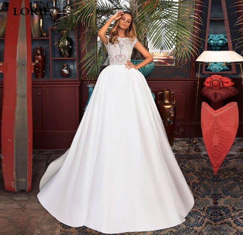 LORIE Princess Wedding Dress Satin Sleeveless Boho Lace Bride Dress Sexy Open Back Vestido De Novia Wedding Gowns