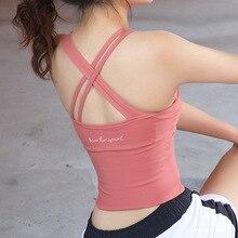 Сексуальный бюстгальтер с перекрестной спинкой для йоги, женский спортивный бюстгальтер с мягкими чашечками, впитывающий пот, ударопрочный бюстгальтер для бега, тренировок, тренажерного зала, укороченный топ, одежда для активного отдыха