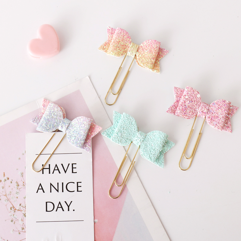 2020 New Arrival 8pcs/lot Kawaii Graduated Color Bow Paper Clip Decorative Bookmark Metal Binder Clips For Photos Tickets Memo