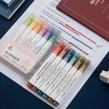 Surligneur de couleurs fluorescentes, stylo marqueur de couleurs macarons Vintage, stylo Graffiti mignon de 6 couleurs, fournitures de papeterie