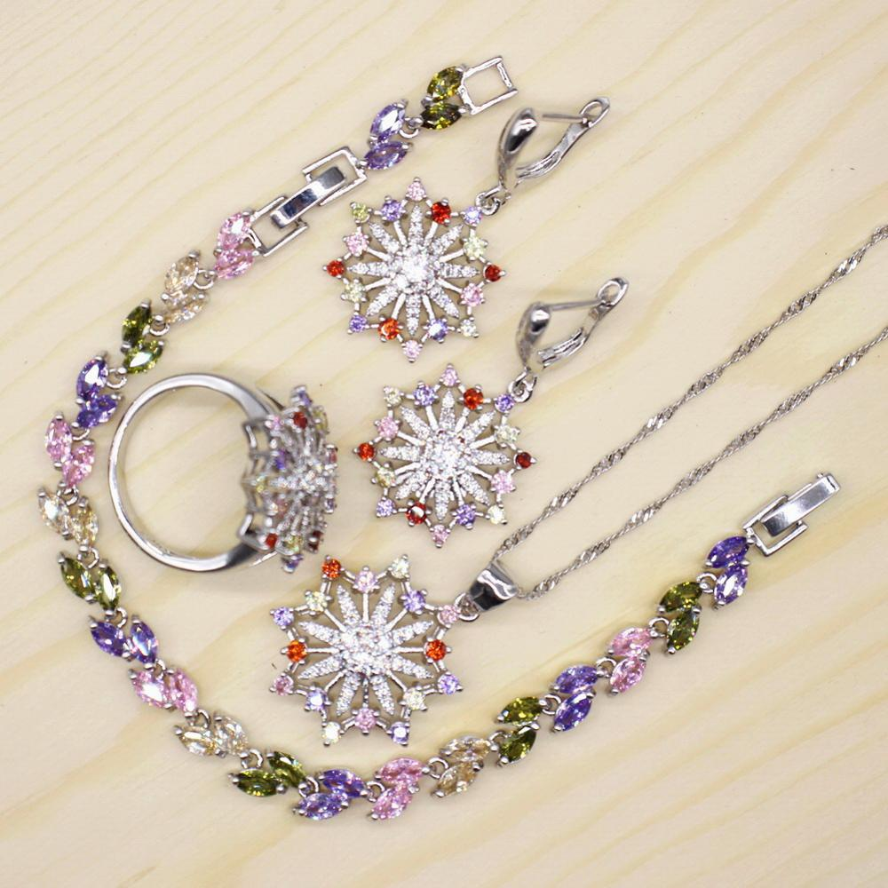 GZJY Women Multicolor Silver Jewelry Sets Flower Shape Earrings Necklace Pendant Wedding Ring Leaf Bracelet Jewelry for women(China)
