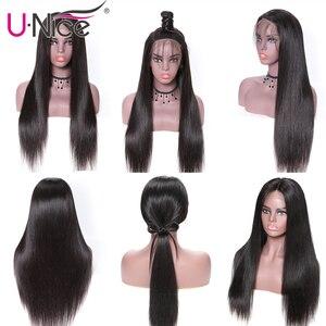 Image 3 - Unice saç 13*4 brezilyalı düz tutkalsız dantel ön İnsan saçı peruk ile bebek saç ön koparıp 5x5 HD dantel kapatma peruk kadın