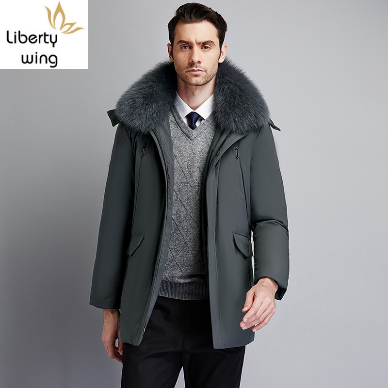 2020 New Winter Mens Thick Warm Coat Fashion Solid Fur Collar Hooded Outerwear Casual Pocket Zipper Male Coats Plus Size M-5XL