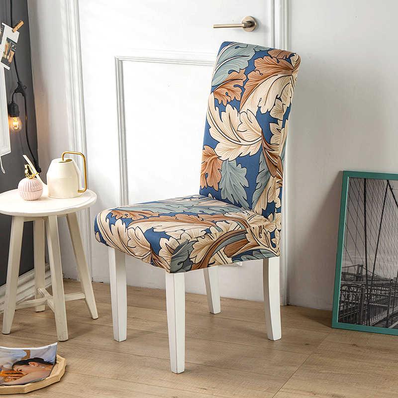 Spandex elastik baskı yemek sandalyesi Slipcover Modern çıkarılabilir anti-kirli mutfak koltuk durumda streç sandalye kılıfı ziyafet için