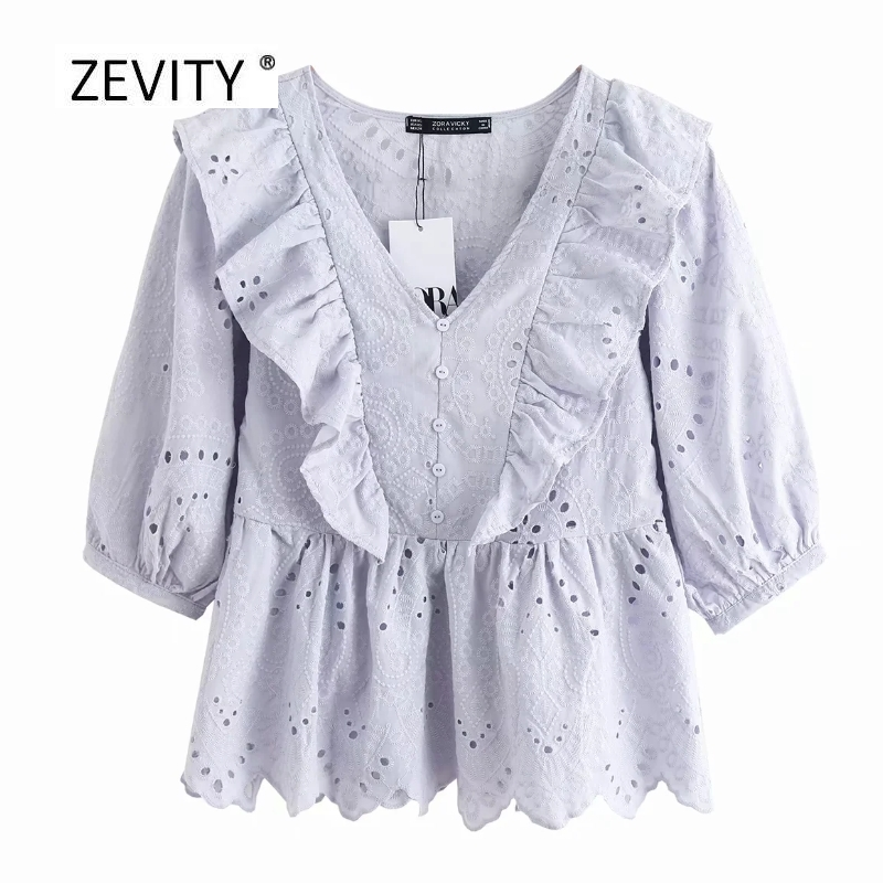 2020 Women Elegant V Neck Hollow Out Embroidery Ruffles Blouse Female Lantern Sleeve Casual Slim Shirt Chic Pullover Tops LS6729