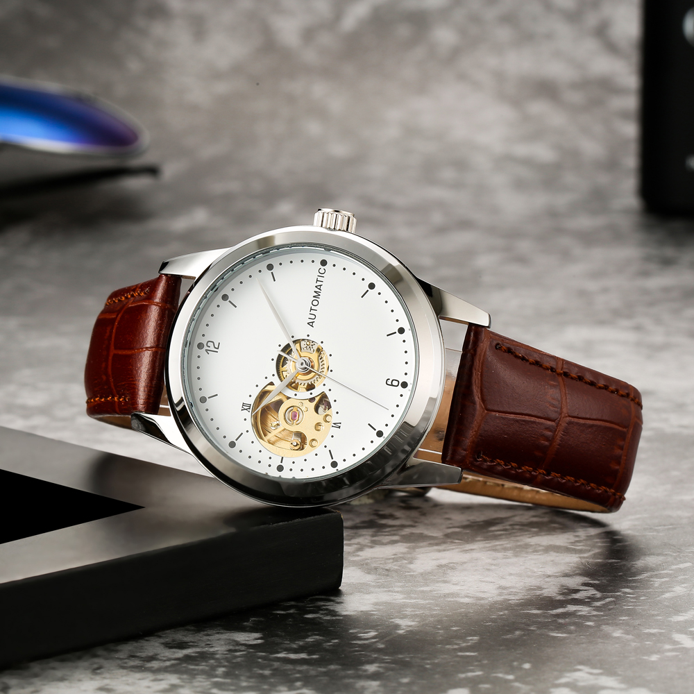 Minimalist Mechanical Watch Unisex 40mm Case Automatic Movement Unique Skeleton Watch Ladies Gold