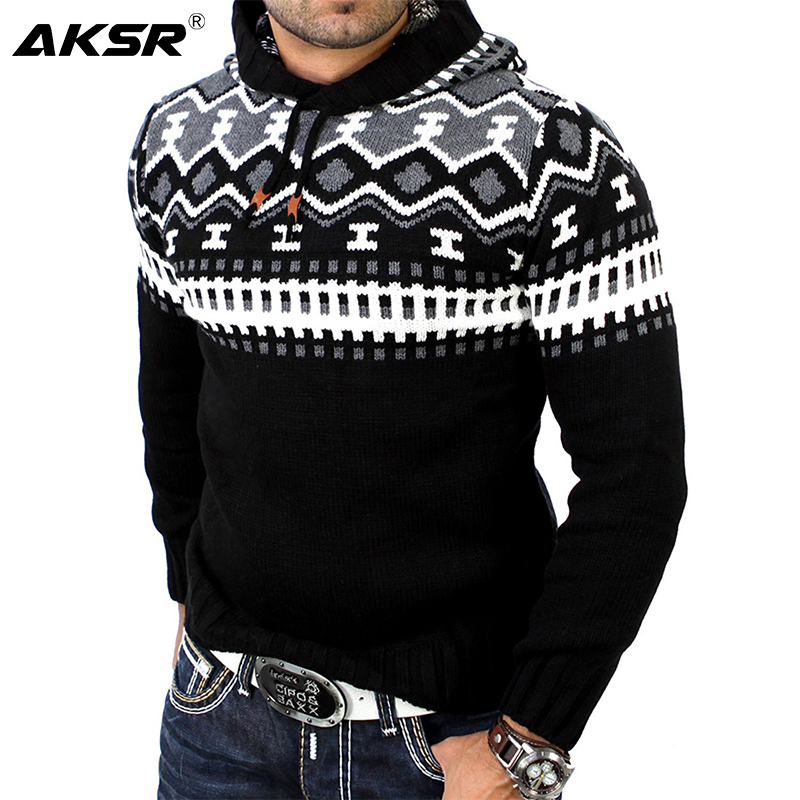 AKSR New Causal Warm Men Winter Hooded Sweater Long Sleeved Mixed Color Thicken Slim Fit Coats Brand Sweaters Men