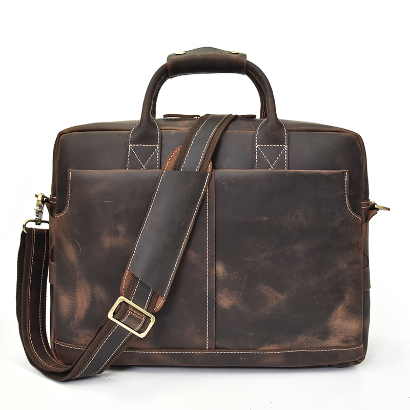 MAHEU Crazy Horse Leather Men Briefcase Soft Cow Skin Vintage Laptop Bag Briefcase Men's Genuine Leather Messenger Bag 15.6