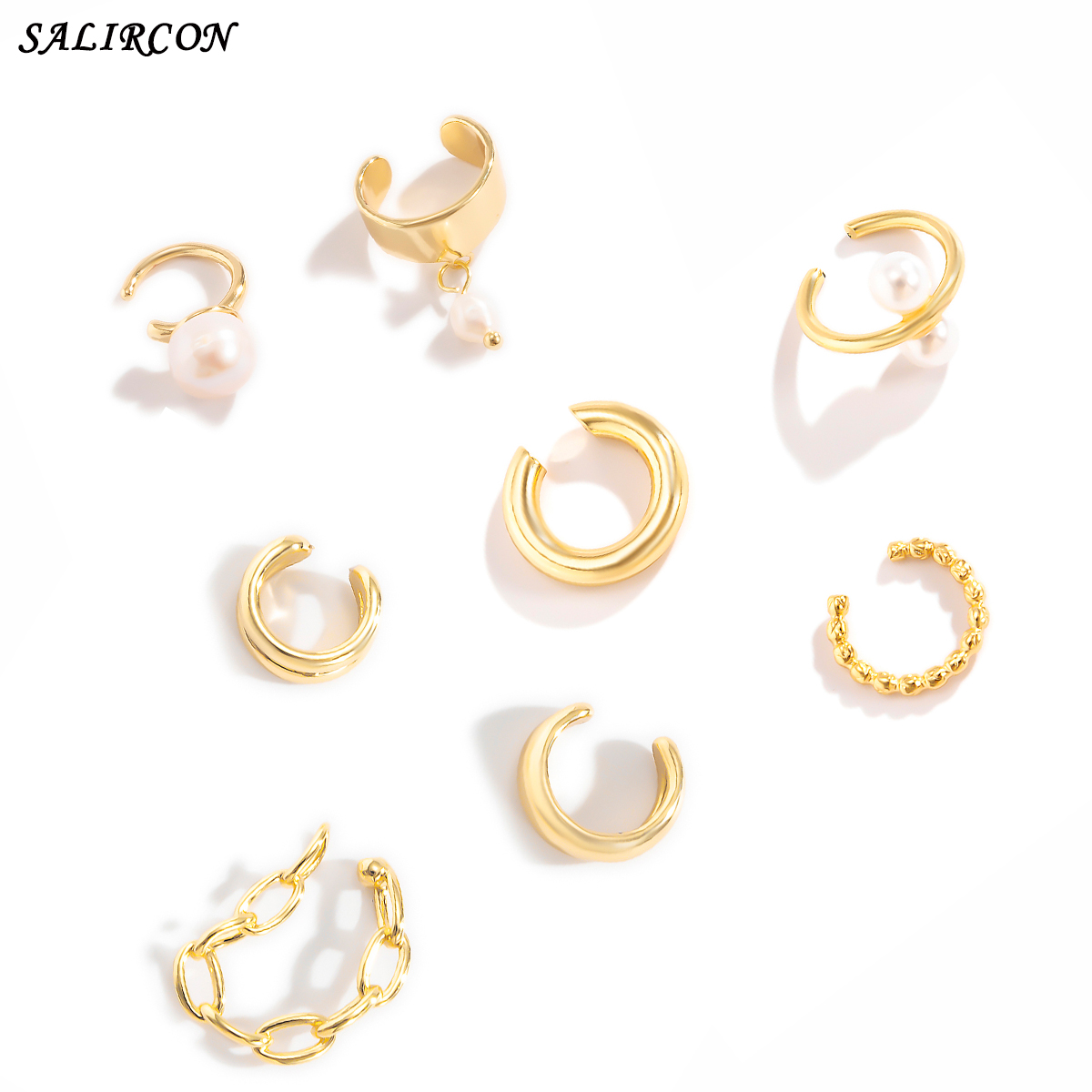 Salircon Kpop Imitation Pearl Ear Clips for Women Earrings Geometric Round Circle Gold Color Ear Cuff Earring Jewelry 2021 Trend